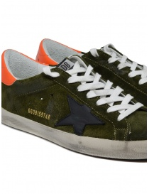 Golden Goose Superstar sneakers in green suede with black star mens shoes buy online