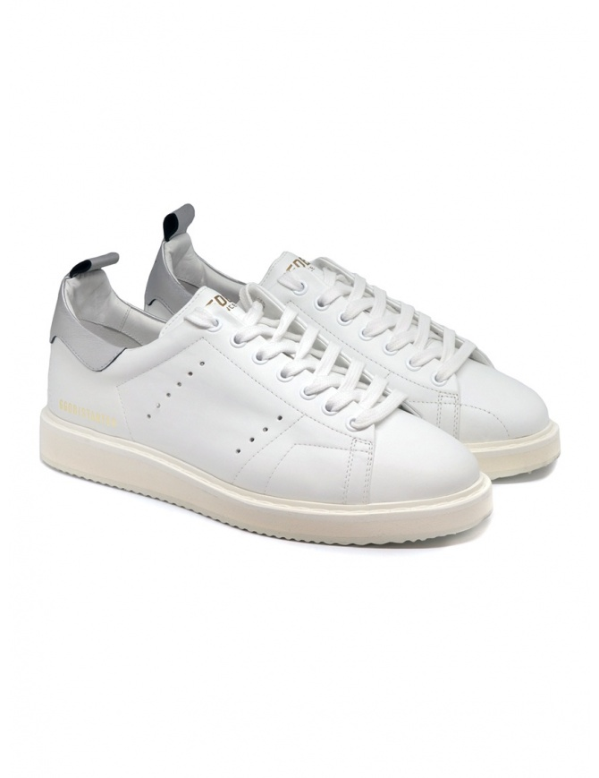 Golden Goose Starter bianche con tallone argento G35MS631.Q8 WHT LEA-SILVER LAM calzature uomo online shopping