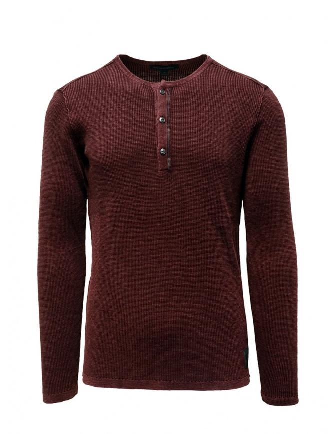 John Varvatos Nashville waffle henley red sweater-shirt Y1891V3B BRT20B 602 PORT mens knitwear online shopping
