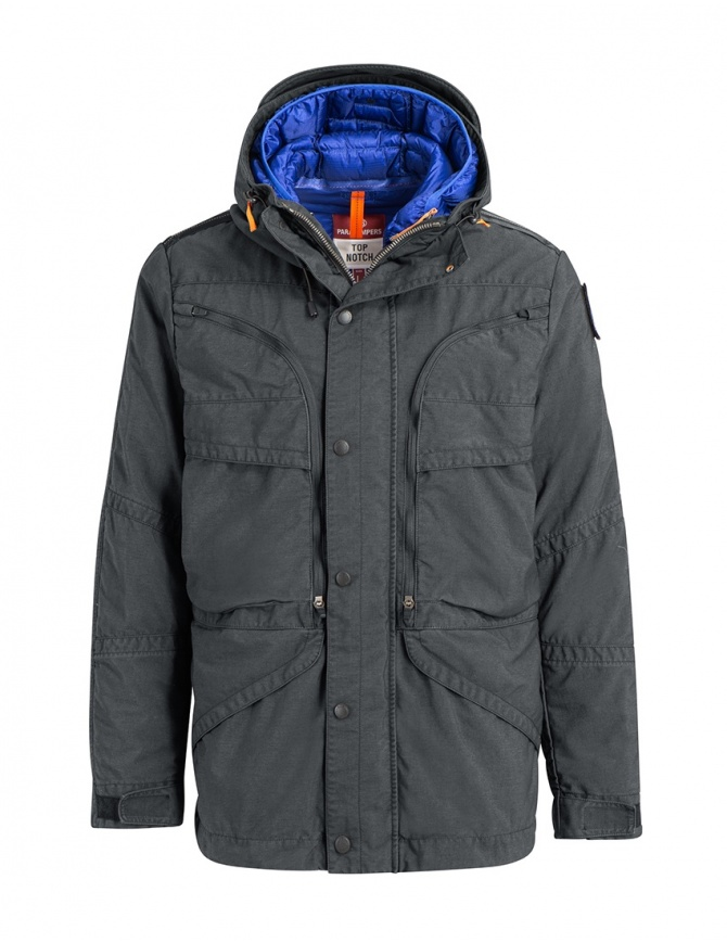 Parajumpers Alpha iron grey and blue jacket PMJCKTP01 NINE IRON 765 mens jackets online shopping