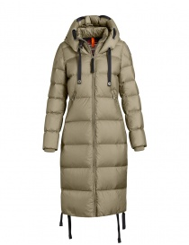 Womens jackets online: Parajumpers Panda long down coat light green