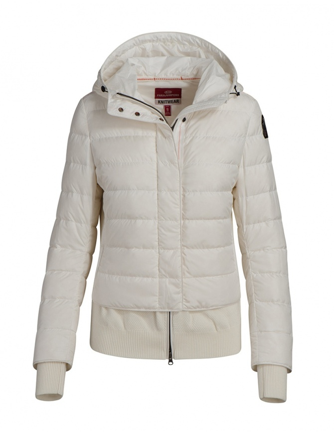Parajumpers piumino Oceanis con inserti in lana bianco PWKNIKN36 OCEANIS 411 OFF-WHT giubbini donna online shopping