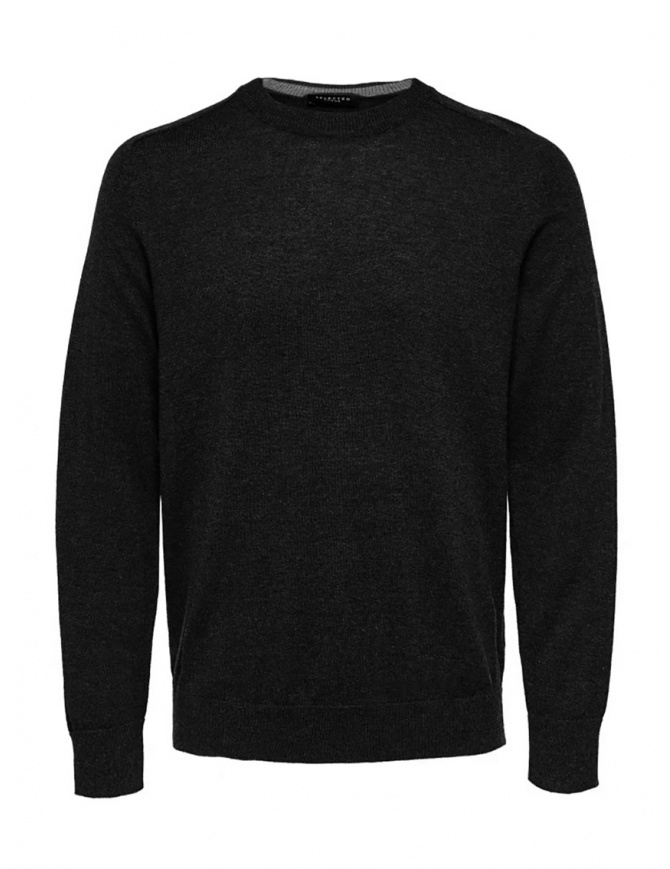 Selected Homme black merino wool and silk pullover 16063605 BLACK mens knitwear online shopping