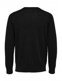 Selected Homme black merino wool and silk pullover buy online