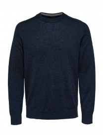 Selected Homme dark sapphire merino wool mixed silk pullover online