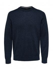 Selected Homme pullover lana merino e seta zaffiro scuro online