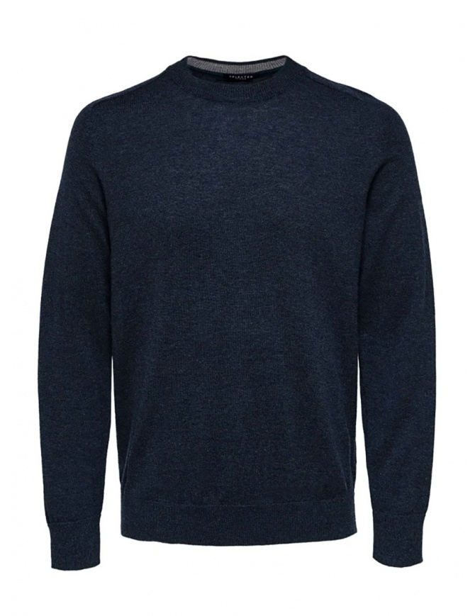 Selected Homme dark sapphire merino wool mixed silk pullover 16063605 DARK SAPPHIRE mens knitwear online shopping