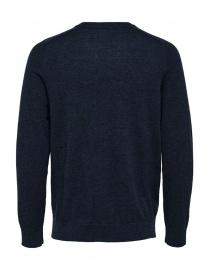 Selected Homme pullover lana merino e seta zaffiro scuro