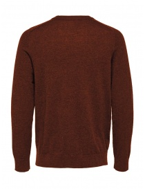 Selected Homme picante red merino wool pullover