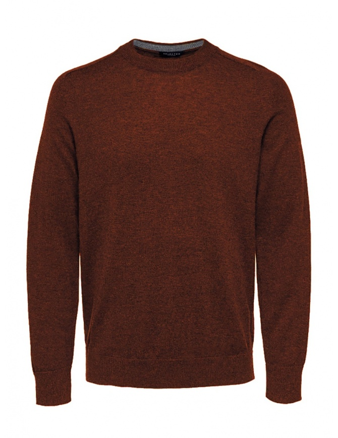 Selected Homme picante red merino wool pullover 16063605 PICANTE MELANGE mens knitwear online shopping