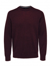 Selected Homme wool and silk blend burgundy pullover online