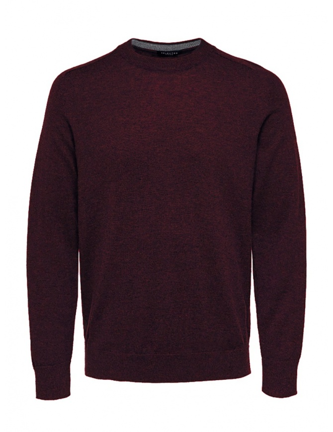 Selected Homme pullover in lana e seta rosso bordeaux 16063605 PORT ROYALE MELANGE maglieria uomo online shopping