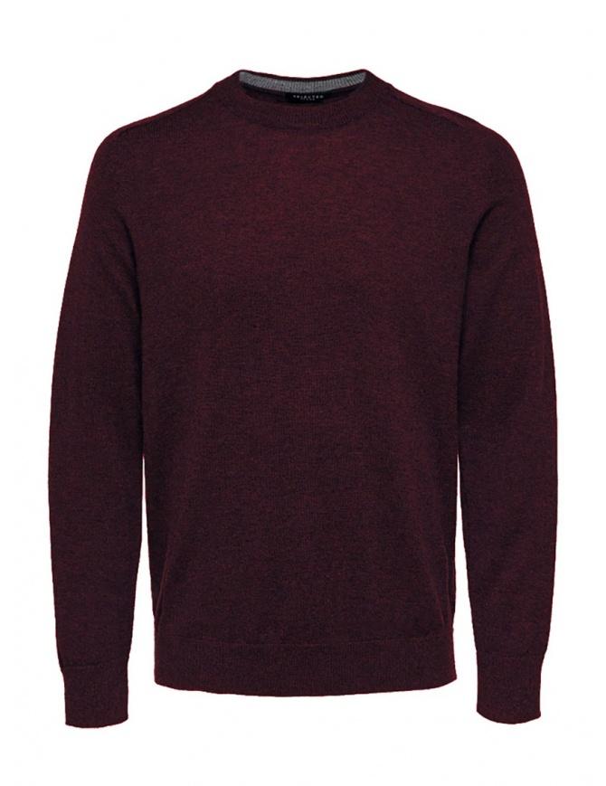 Selected Homme wool and silk blend burgundy pullover 16063605 PORT ROYALE MELANGE mens knitwear online shopping