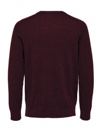 Selected Homme wool and silk blend burgundy pullover
