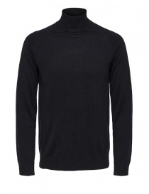 Selected Homme black turtleneck merino wool and silk online