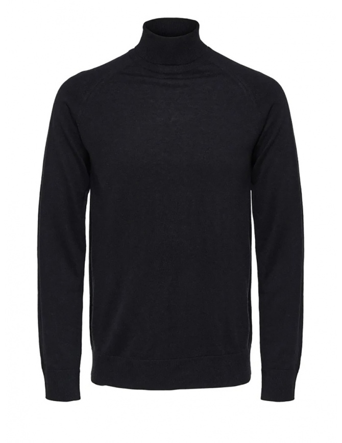 Selected Homme black turtleneck merino wool and silk 16063607 BLACK mens knitwear online shopping