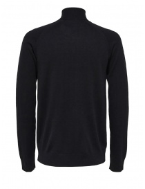 Selected Homme dolcevita nero in lana merino e seta acquista online
