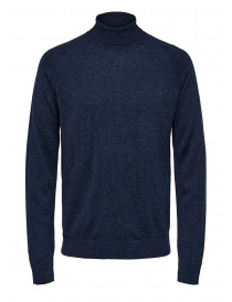 Selected Homme dark sapphire turtleneck merino wool and silk online