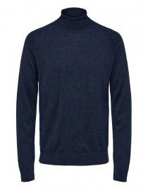Selected Homme dolcevita zaffiro scuro lana merino e seta online