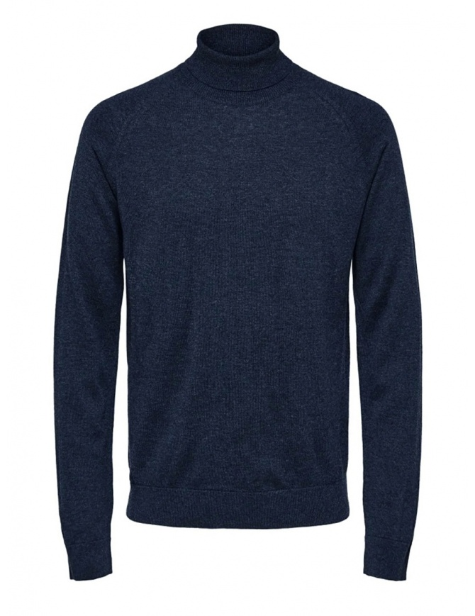 Selected Homme dark sapphire turtleneck merino wool and silk 16063607 DARK SAPPHIRE mens knitwear online shopping