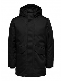 Selected Homme hooded padded jacket black online