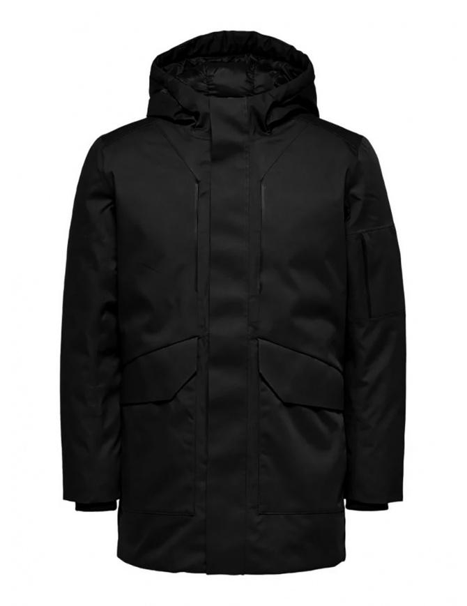 Selected Homme hooded padded jacket black 16068147 BLACK mens jackets online shopping