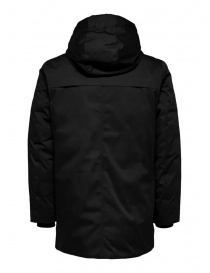 Selected Homme hooded padded jacket black