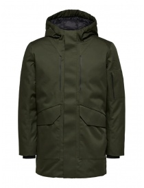 Selected Homme padded hooded jacket green online