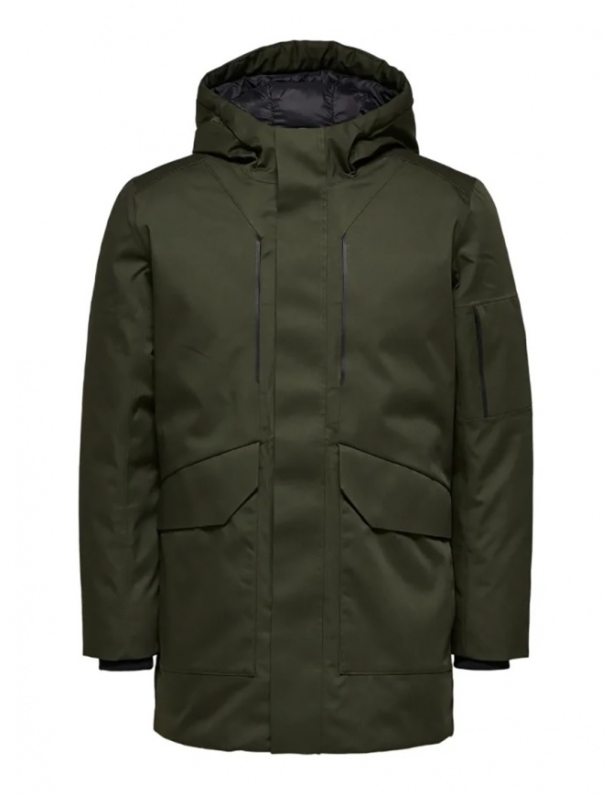 Selected Homme padded hooded jacket green 16068147 FOREST NIGHT mens jackets online shopping