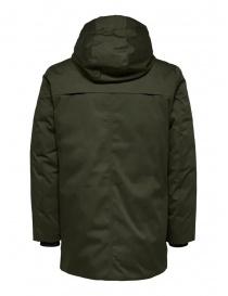Selected Homme giacca verde imbottita con cappuccio