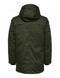 Selected Homme padded hooded jacket green