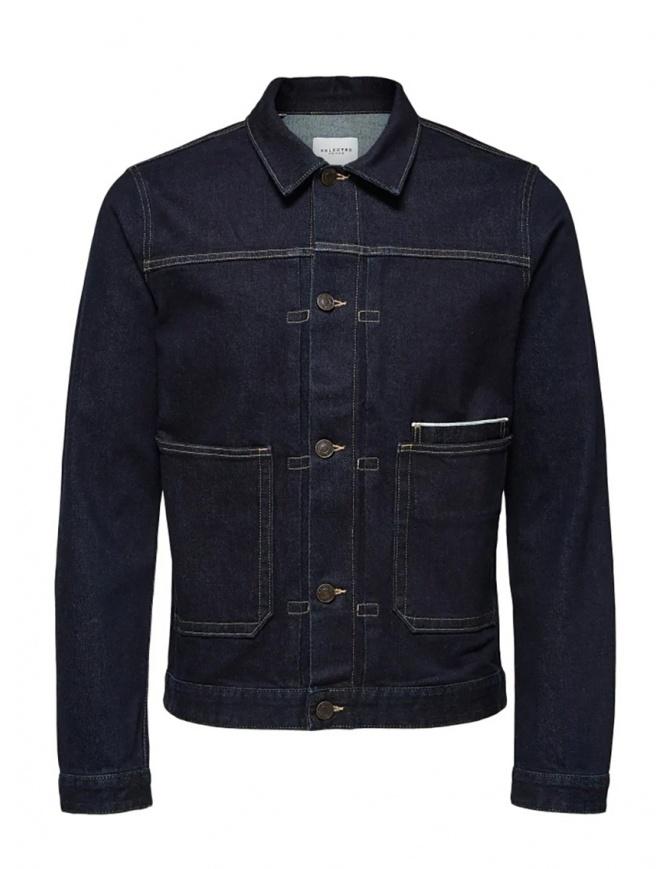 Selected Homme jacket in dark blue denim 16069675 DARK BLUE DENIM mens jackets online shopping