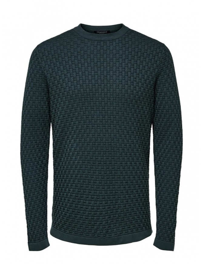 Selected Homme knit pullover in darkest spruce green color 16068999 DARKEST SPRUCE mens knitwear online shopping