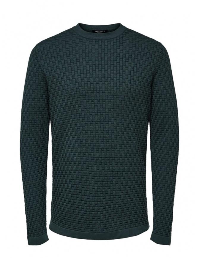 Selected Homme pullover lavorato colore verde abete 16068999 DARKEST SPRUCE maglieria uomo online shopping
