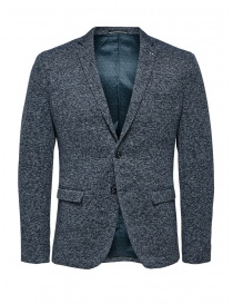 Mens suit jackets online: Selected Homme melange blue single-breasted blazer