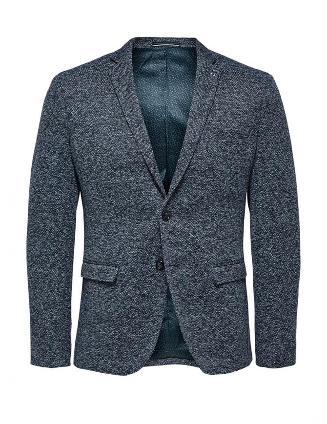 Selected Homme melange blue single-breasted blazer 16068351 SAND mens suit jackets online shopping