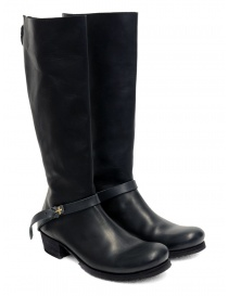 Womens shoes online: M.A+ high boots in black leather with buckle and zipper