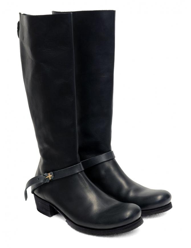 M.A+ stivali alti in pelle nera con fibbia e cerniera SW6C46Z-R VA 1.5 BLACK calzature donna online shopping