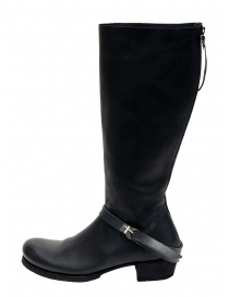 M.A+ high boots in black leather with buckle and zipper