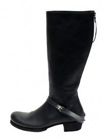 M.A+ stivali alti in pelle nera con fibbia e cerniera