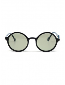 Glasses online: Kapital sunglasses with green lenses and smile detail