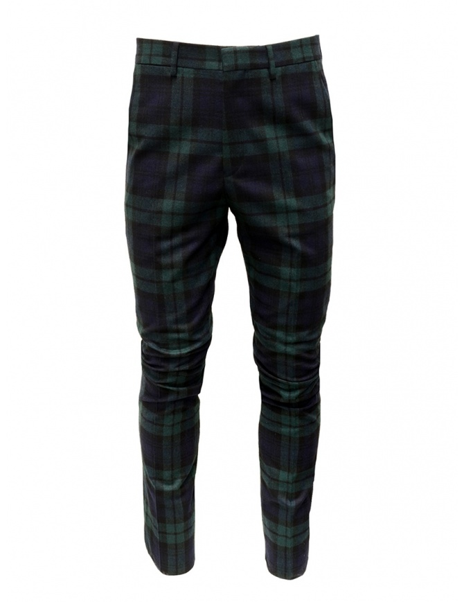 Golden Goose blue and green tartan pants G35MP501.A2 BLK GREEN TARTAN mens trousers online shopping
