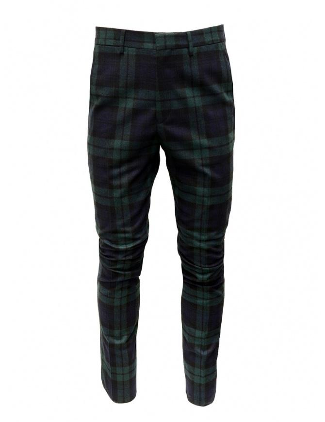 Golden Goose pantaloni a quadri blu verdi G35MP501.A2 BLK GREEN TARTAN pantaloni uomo online shopping