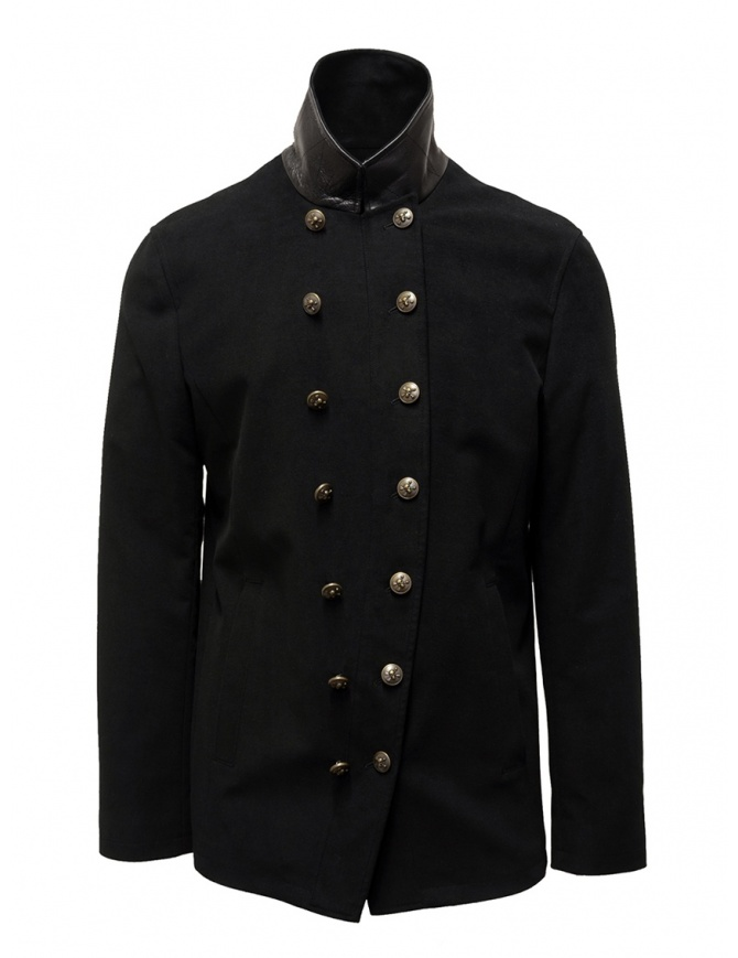 John Varvatos black double-breasted military jacket O1122V3 BQSD 001 BLACK mens suit jackets online shopping