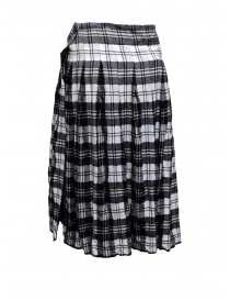 Casey Casey white and blue tartan midi skirt
