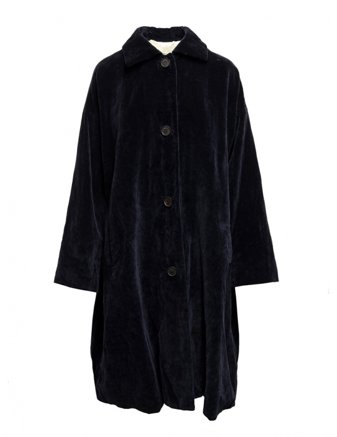 Casey Casey coat in dark blue velvet 13FM75 NAVY womens coats online shopping