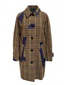 Cappotti donna online: Cappotto Kolor beige a quadri e patchwork blu