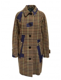 Womens coats online: Kolor beige checkered blue patchwork coat
