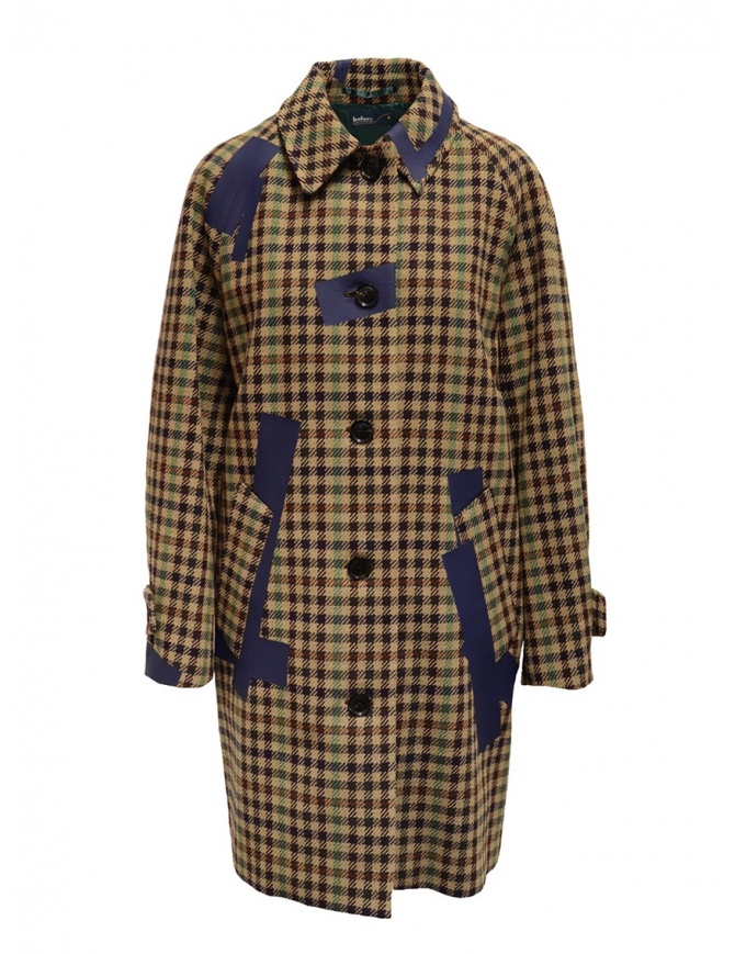 Cappotto Kolor beige a quadri e patchwork blu 19WCL-C05103 BEIGE MIX CHECK cappotti donna online shopping