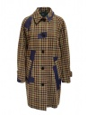 Kolor beige checkered blue patchwork coat buy online 19WCL-C05103 BEIGE MIX CHECK